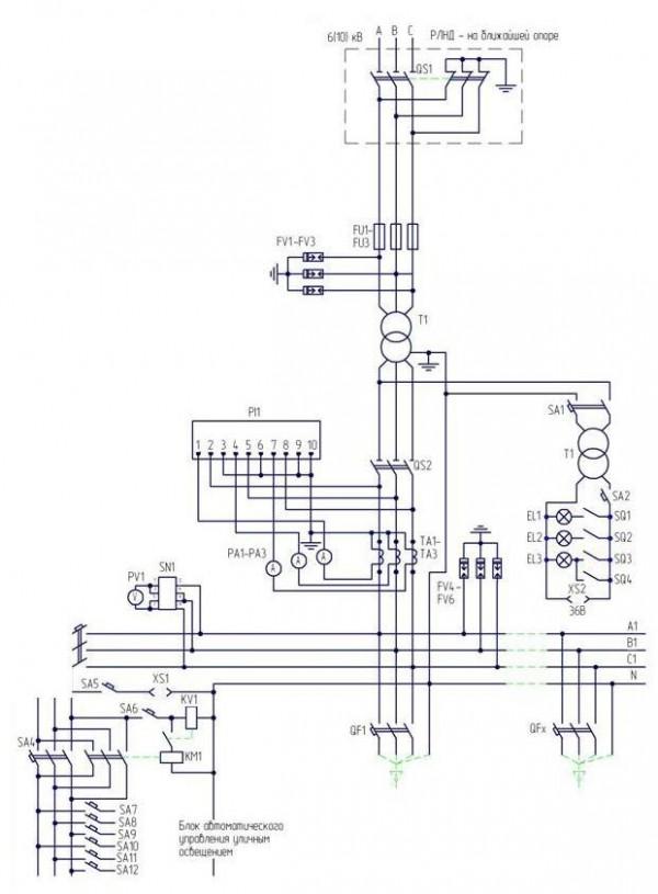 Схема электрическая принципиальная малогабаритной КТПКм.