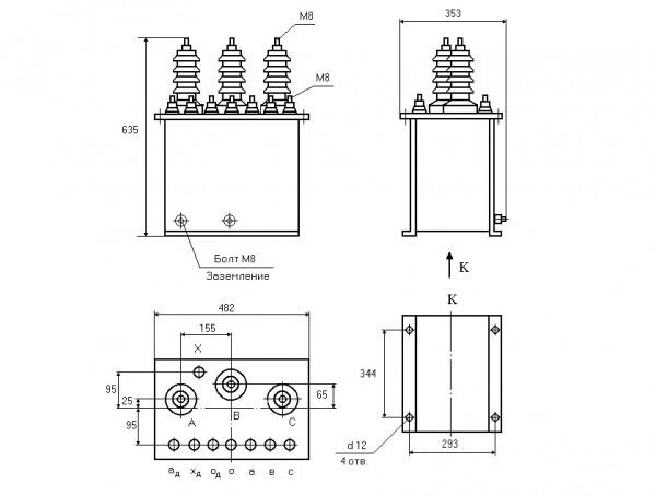 Габаритные и установочные размеры трансформатора напряжения НАМИТ-6